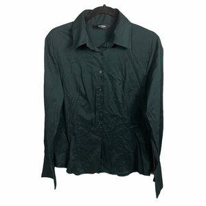 Express Button Front Shirt Black Women's Large